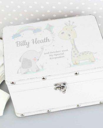 Personalised Baby Animal Friends White Leather Keepsake Box