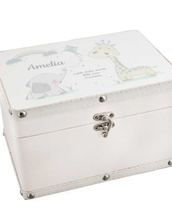 Personalised Baby Animal Friends White Leather Keepsake Box