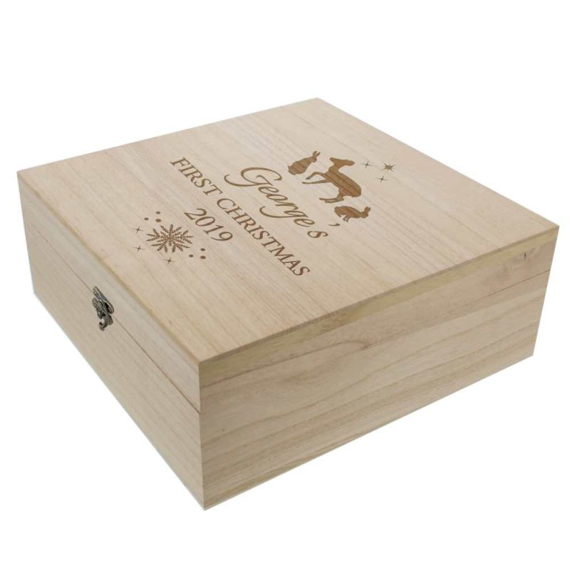 Personalised Christmas Wooden Keepsake Box