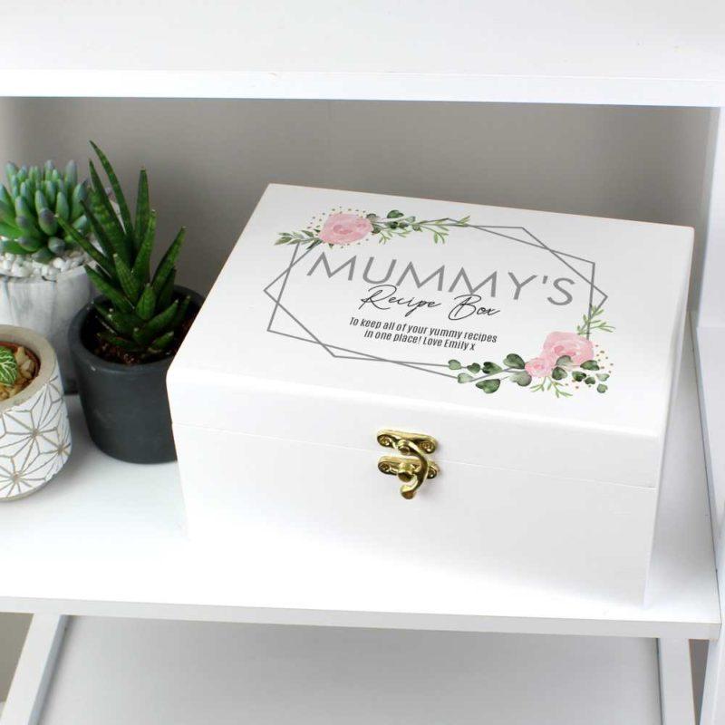 Personalised Pastel Rose White Wooden Keepsake Box