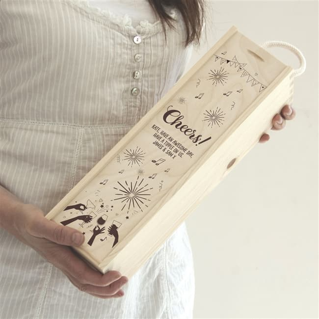 Personalised 'Cheers!' Wine Gift Box