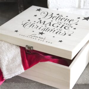 Personalised 'Believe' Wooden Christmas Eve Box