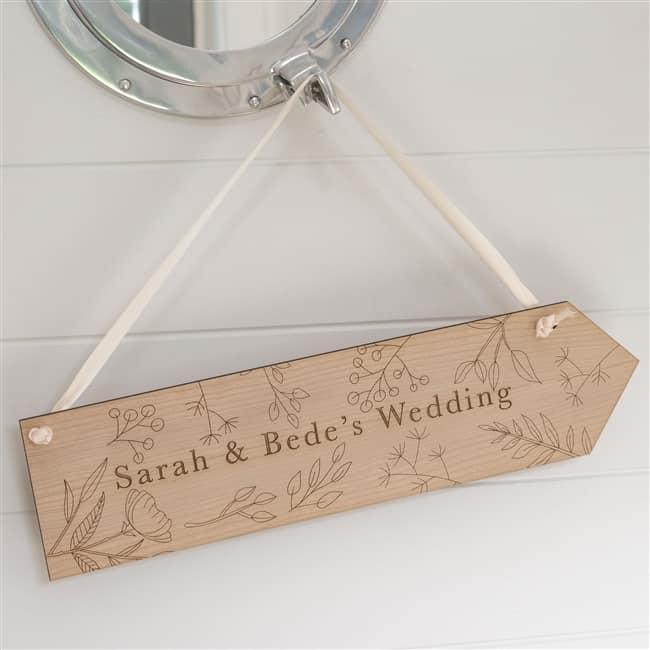 Personalised Rustic Flower Wedding Sign
