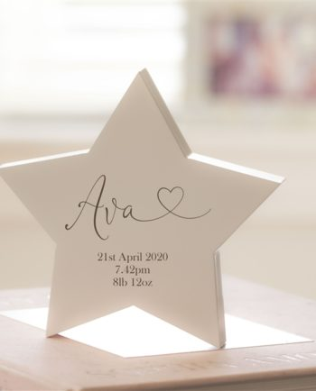 Personalised New Baby Wooden Star
