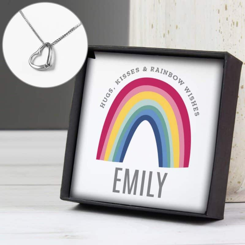 Personalised Rainbow Sentiment Silver Tone Heart Necklace and Box