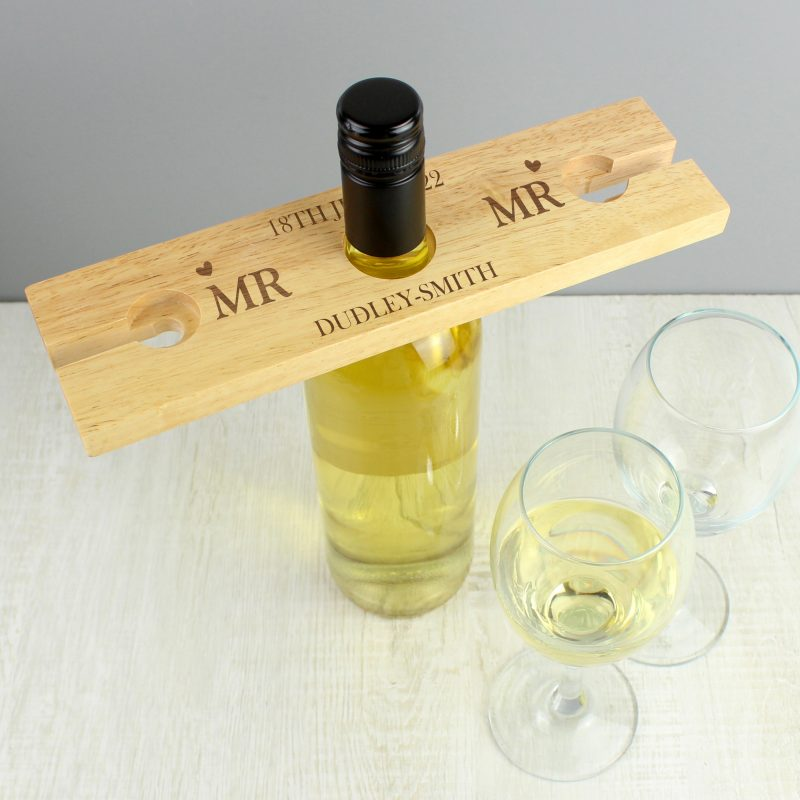 Personalised 'Mr & Mrs' Wine Glass & Bottle Butler