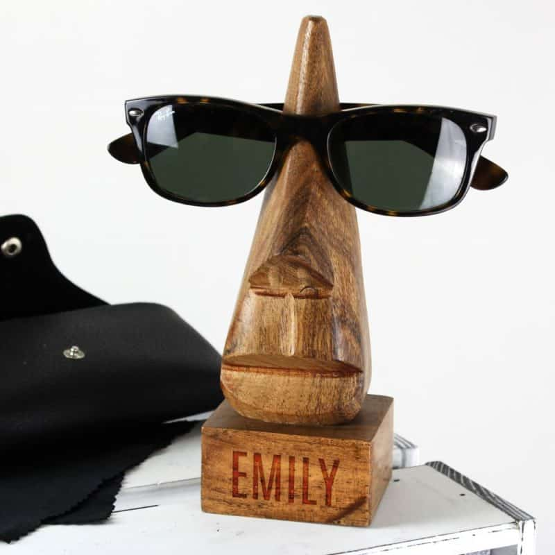 Personalised Wooden Nose Shaped Glasses Holder
