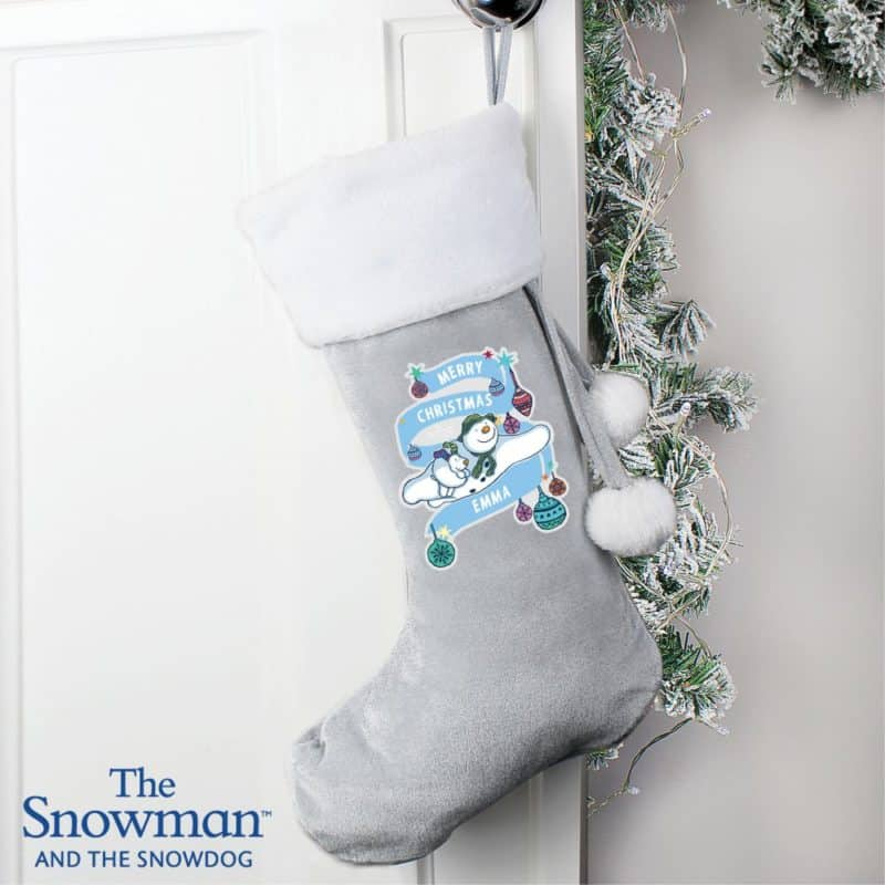 Personalised 'The Snowman and The Snowdog' Luxury Silver Grey Stocking