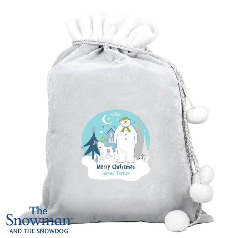 Personalised 'The Snowman and The Snowdog' Luxury Pom Pom Sack