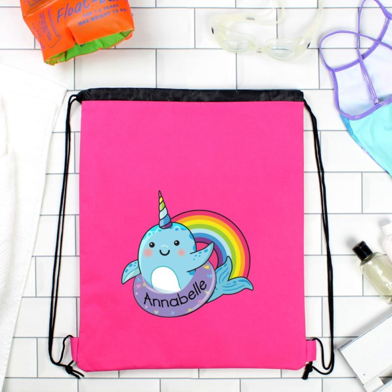 Personalised Narwhal Emoji Hot Pink P.E Kit Bag