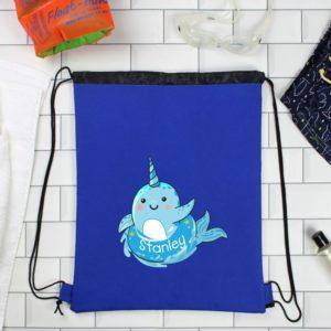 Personalised Narwhal Emoji Blue P.E Kit Bag