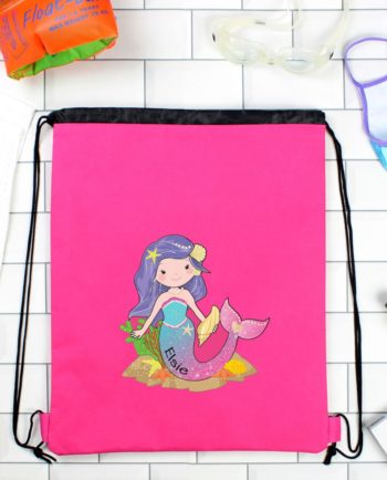 Personalised Cute Mermaid Hot Pink P.E Kit Bag