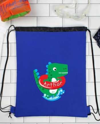 Personalised Cute Dinosaur Blue P.E Kit Bag