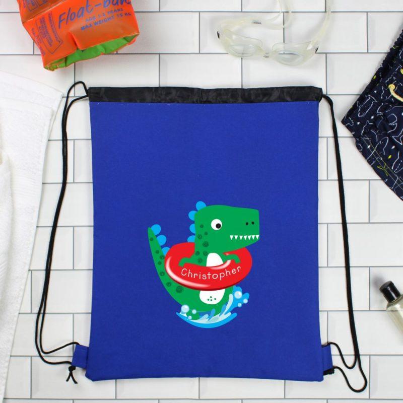Personalised Cute Dinosaur Blue P.E Kit Bag