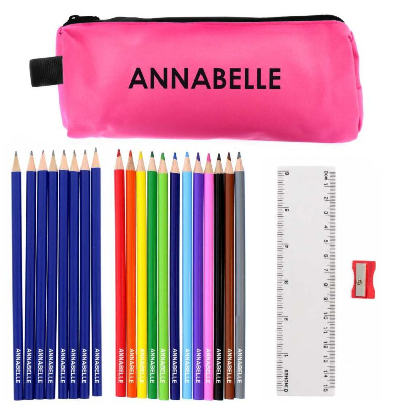 Hot Pink Pencil Case with Personalised Pencils & Crayons