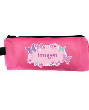 Personalised Hot Pink Butterfly Pencil Case
