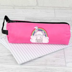 Personalised Unicorn and Rainbow Hot Pink Pencil Case