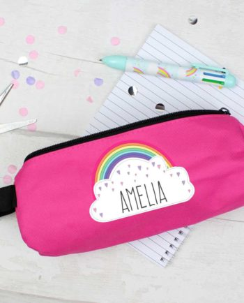 Personalised Rainbow Hot Pink Pencil Case