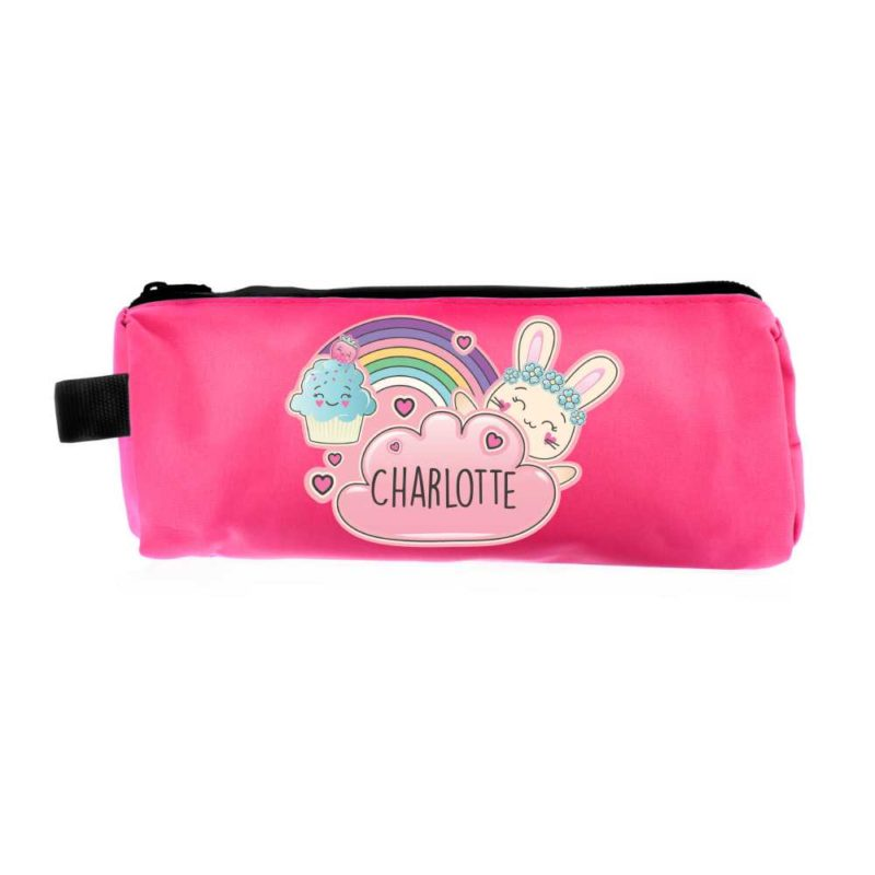 Personalised Emoji Bunny Hot Pink Pencil Case
