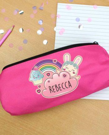 Personalised Emoji Bunny Hot Pink Pencil Case