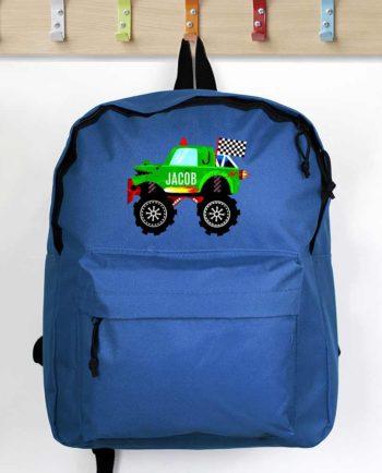 Personalised Monster Truck Blue Backpack