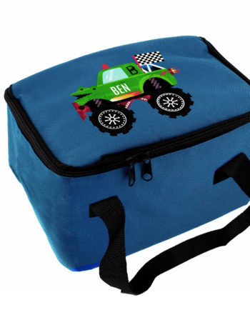 Personalised Monster Truck Blue Lunch Bag