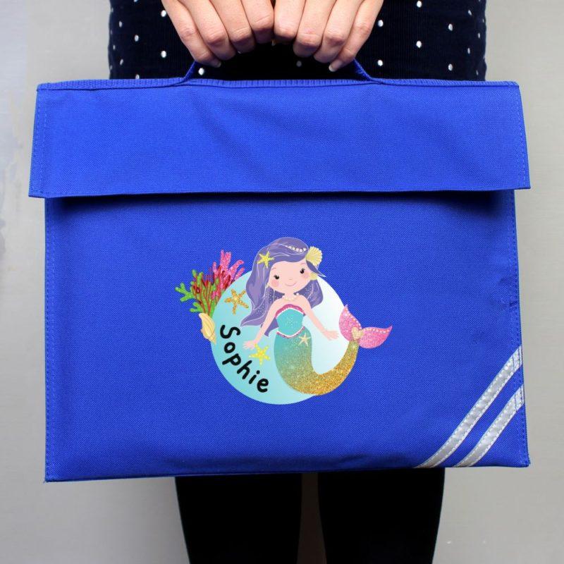 Personalised Cute Mermaid School Book Bag
