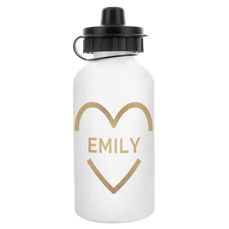 Personalised Gold Heart Drinks Bottle