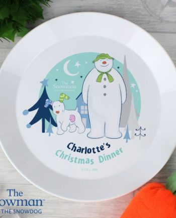 Personalised 'The Snowman and The Snowdog' Plastic Christmas Plate