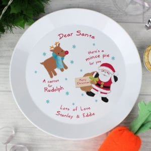 Personalised Santa & Rudolph Christmas Eve Plate
