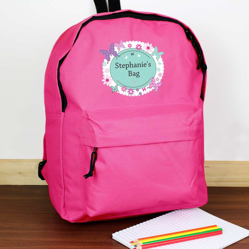 butterfly backpack in hot pink for girls
