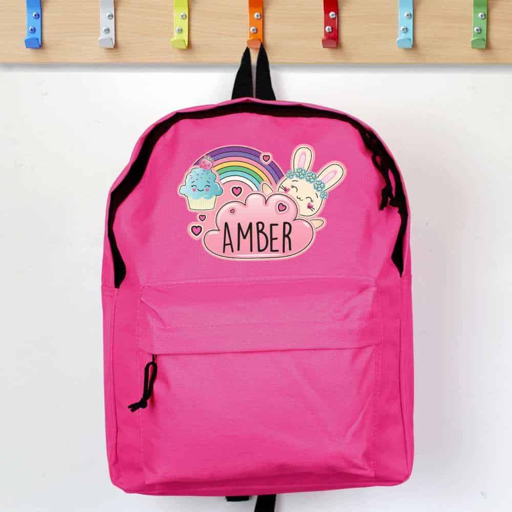 girls personalised emoji backpack
