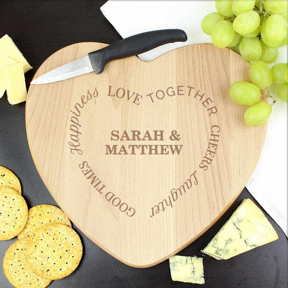 love heart shaped personalised chopping board new home gift wedding day