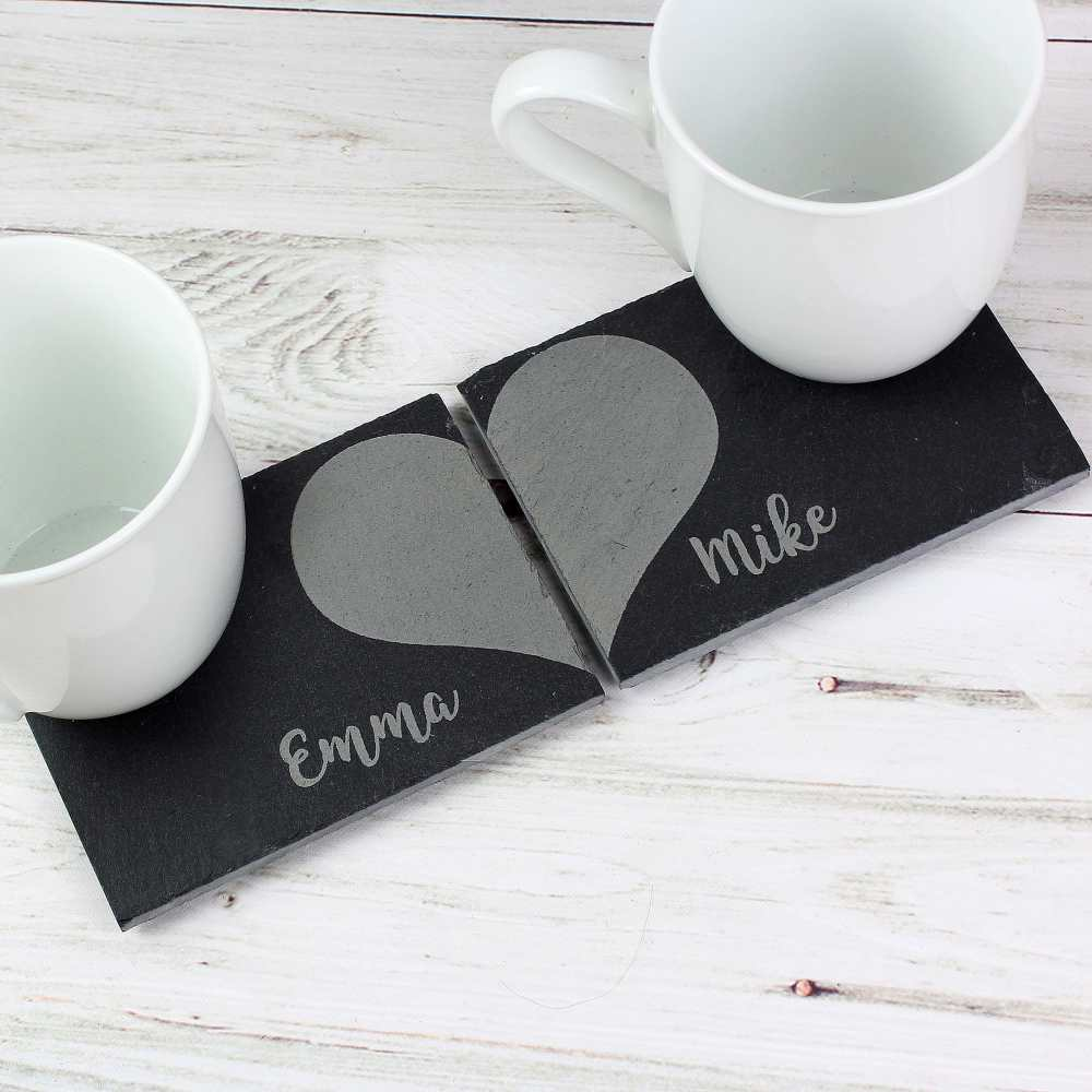 named love heart coaster for wedding anniverdary