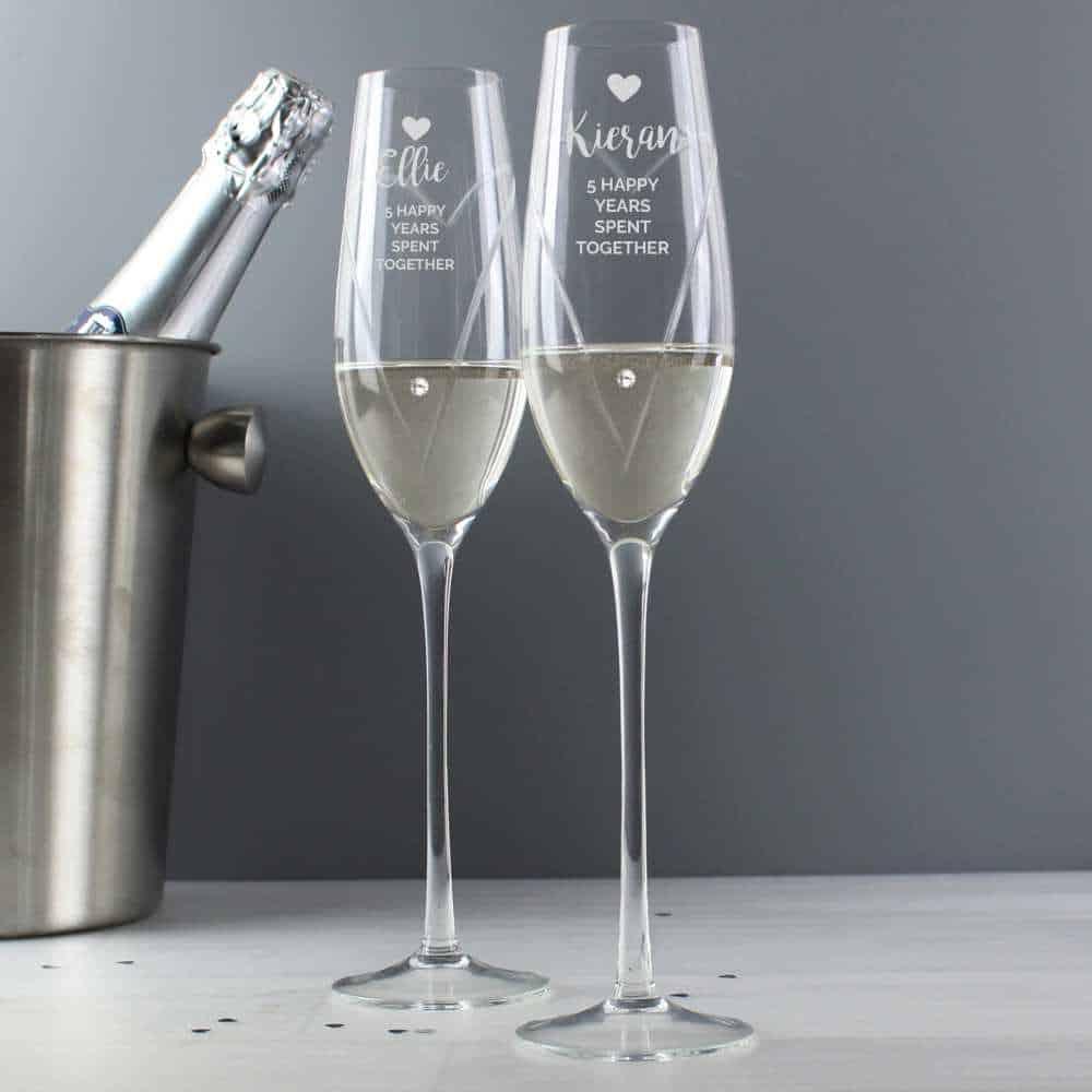 personalised champagne flutes uk