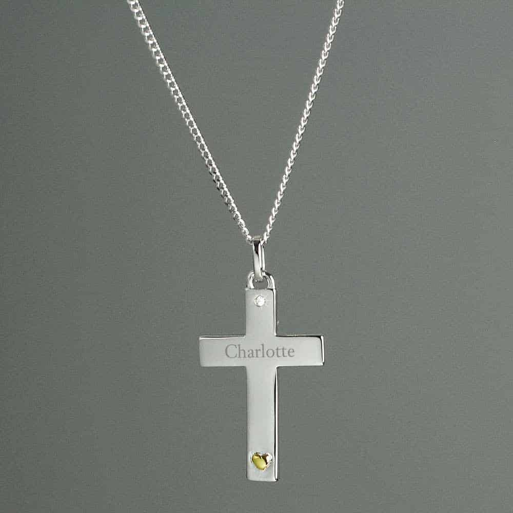 personalised cross neckalce for girls sterling silver