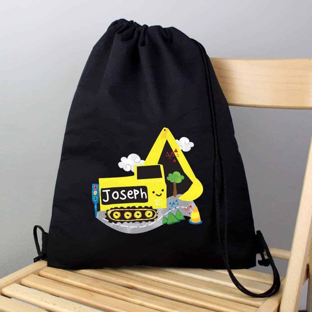 personalised digger pe kit bag for boys