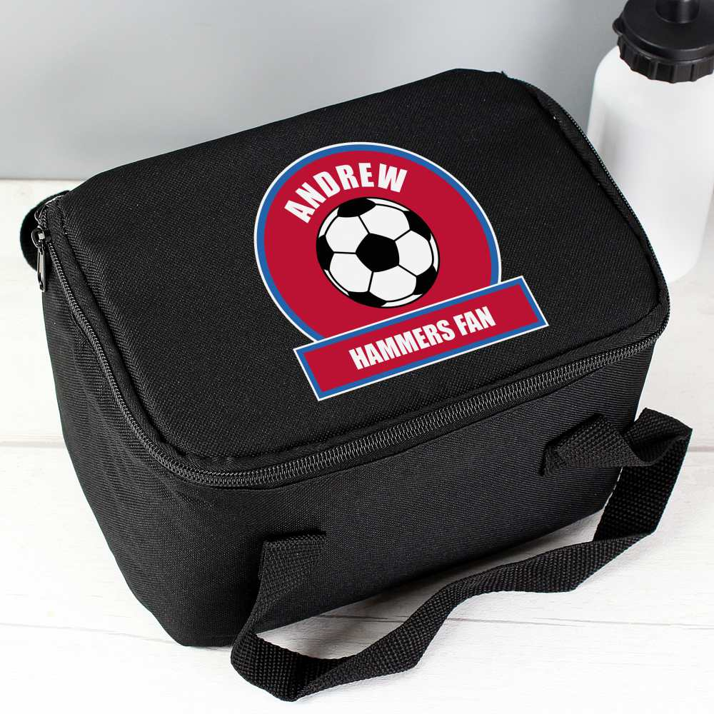 personalised football lunchbag for school