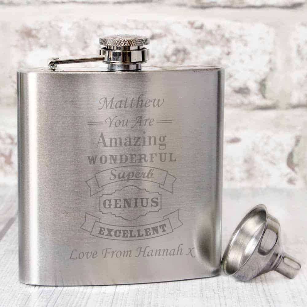 personalised hip flask for grandad