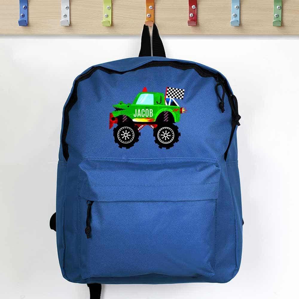personalised monstor truck backpack for boys