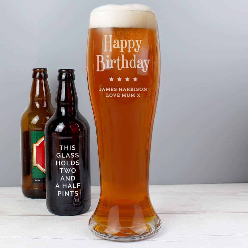 personalised pint glass for him