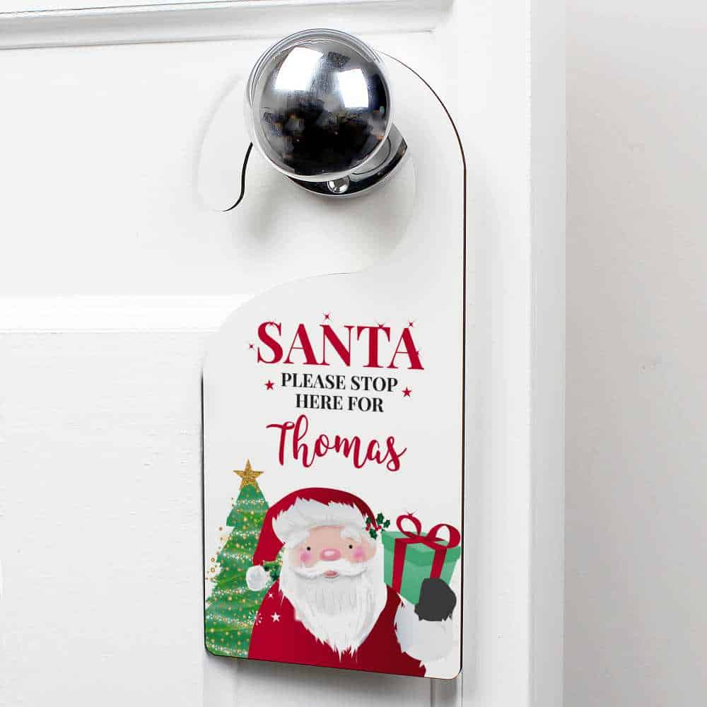 personalised santa christmas door sign