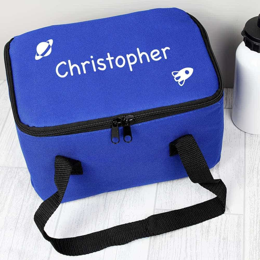 personalised space theme lunch bag for boys