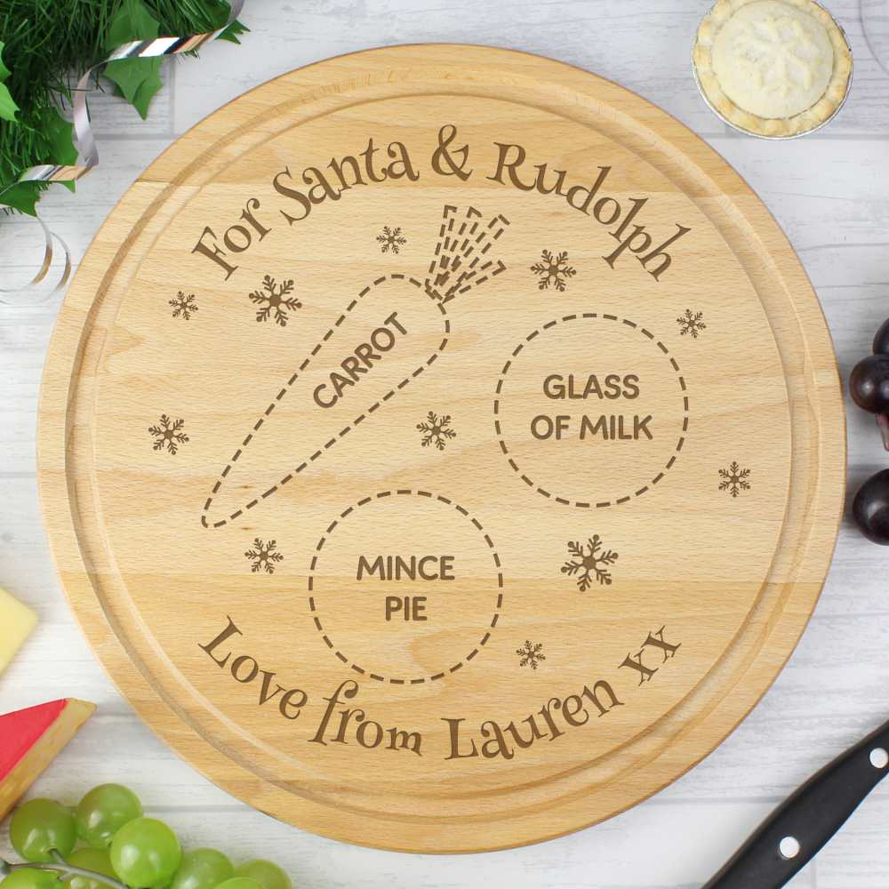 personalised wooden board for santa and rudolfs christmas snacks