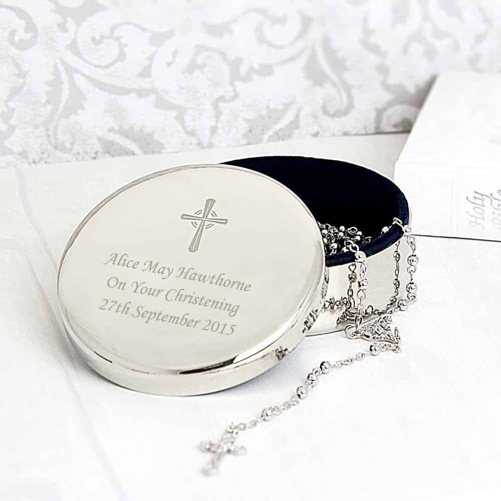 silver cross rosary in a personalised trinket box for christenings in the uk