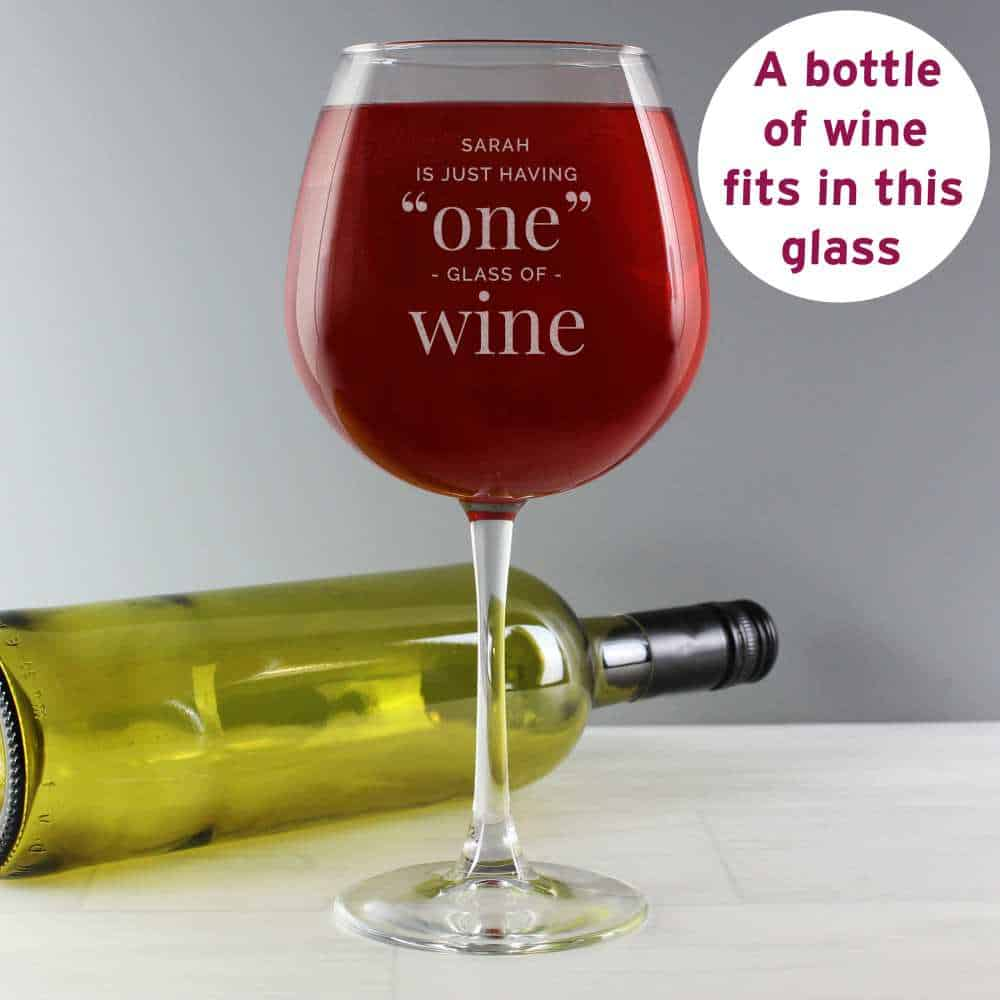 whole bottle in a wine glass personalised for her