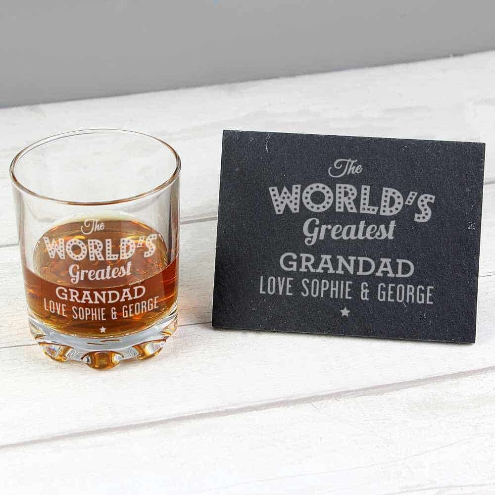 worlds greatest grandad personalised whicky glass and coaster