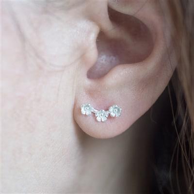 Sterling Silver 'Wild Flower' Stud Earrings