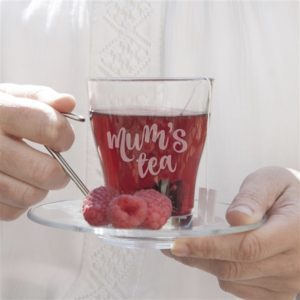Personalised Glass Tea Cup and Saucer