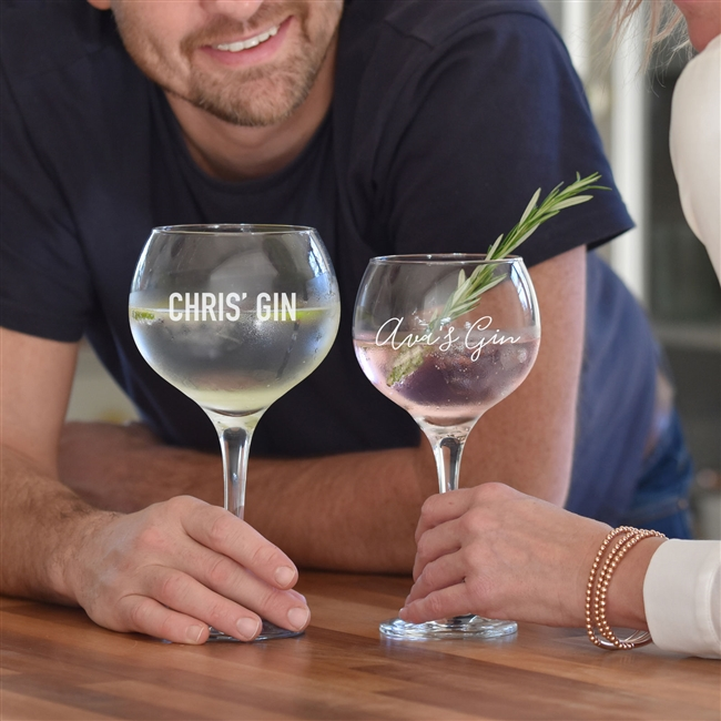 'His & Hers' Personalised Copa Gin Glasses